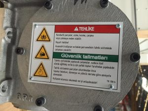 Alüminyum Makine Uyarı Etiketi