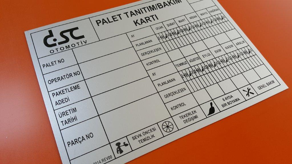 Palet Tanıtım Alüminyum Etiket